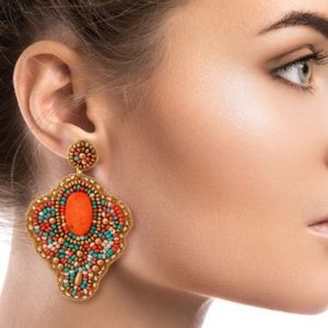 Multi Color And Gold Seed Bead Drop Earrings